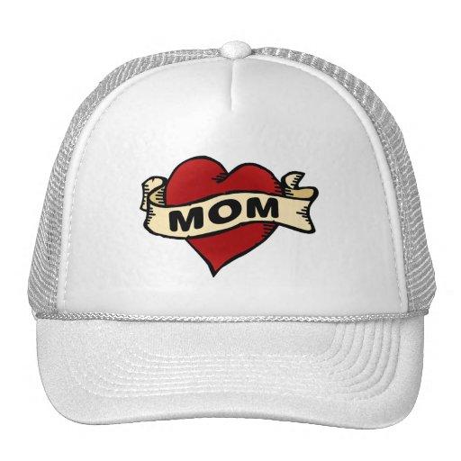 Mom Heart Tattoo Mesh Hat