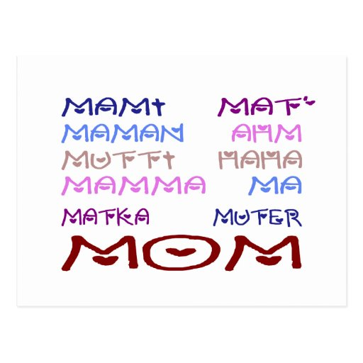 Mom in Different Languages (Mother's Day) Post Cards