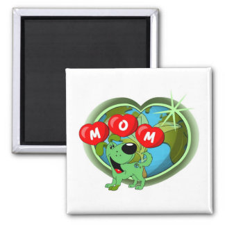 Mom in Hearts (Leaf) Square Magnet