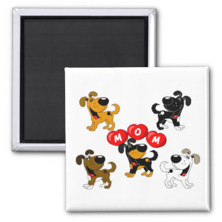 Mom in Heats (Surrounded by Pups) Square Magnet