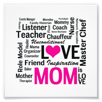 Mom is Love - Mother's Day or Mom's Birthday Photo Art