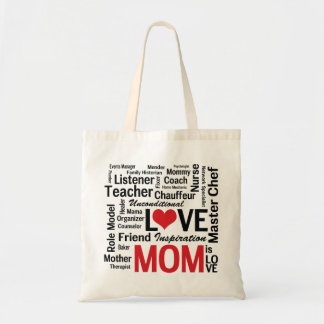 Mom is Love Mother's Day Word Cloud Budget Tote Bag