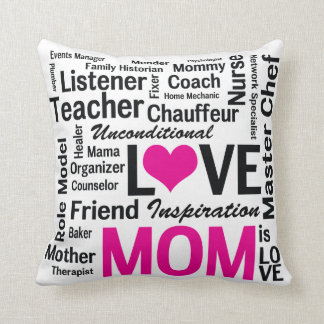 Mom is Love Pink and Black Mother's Day Cushion