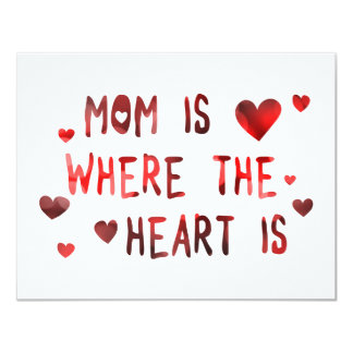 mom is where the heart is bokeh 11 cm x 14 cm invitation card
