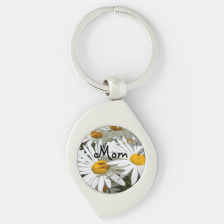 Mom Keychains Stocking Stuffers Daisy Flowers Silver-Colored Swirl Key Ring