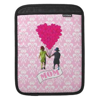Mom, kids with heart shaped balloons iPad sleeves