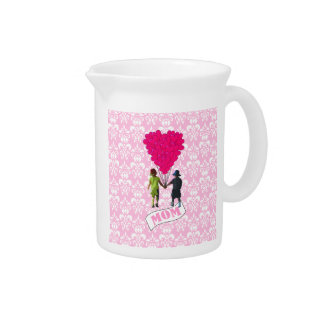 Mom, kids with heart shaped balloons pitcher