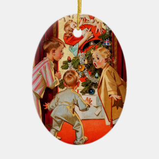 Mom Kisses Santa Claus Christmas Ornament