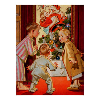 Mom Kisses Santa Claus Poster