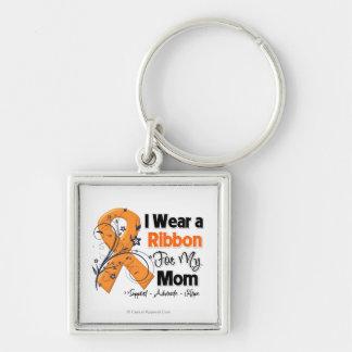 Mom - Leukemia Ribbon Silver-Colored Square Key Ring