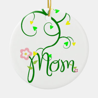 Mom Love Floral Heart Blossom Vines Destiny Sports Round Ceramic Decoration