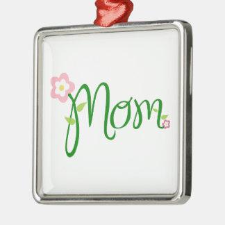 Mom Love Floral Heart Blossom Vines Destiny Sports Silver-Colored Square Decoration