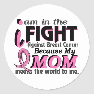 Mom Means The World To Me Breast Cancer Round Sticker