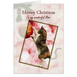 Mom, Meowy Christmas Greeting Card