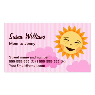 Mom/mommy calling card, pink with cute sun business card templates