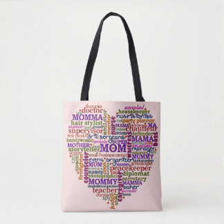 Mom Mothers Day Cute Typography Word Heart Tote Bag