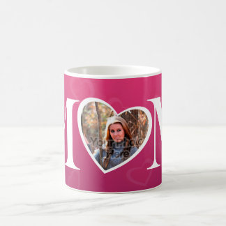MOM Mother's Day Photo Pink Heart Frame Basic White Mug