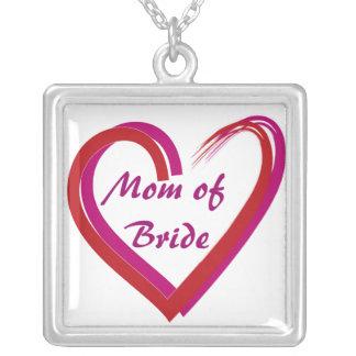Mom of Bride Heart Square Pendant Necklace