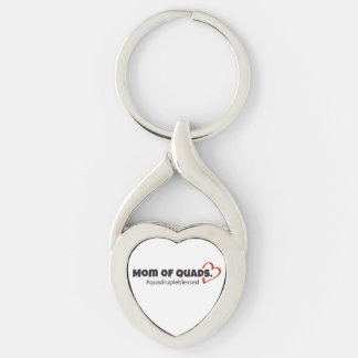 Mom of Quads Heart Keychain