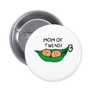 Mom of Twin Pod 6 Cm Round Badge