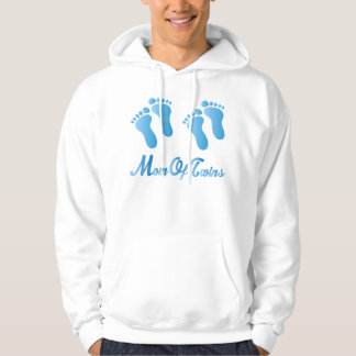 Mom Of Twins Blue Footprints Hooded Sweatshirt