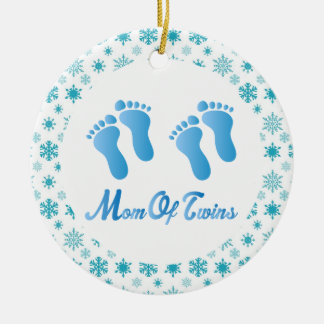 Mom Of Twins Blue Footprints Keepsake Gift Christmas Ornament