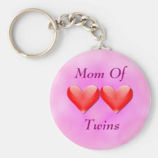 Mom Of Twins Double Hearts Keychain
