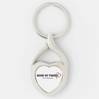 Mom of Twins Heart Keychain