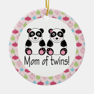 Mom Of Twins Panda Christmas Keepsake Ornament