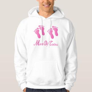 Mom Of Twins Pink Footprints Hooded Sweatshirt