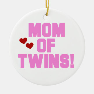 Mom of Twins Pink Text Gifts Christmas Ornament