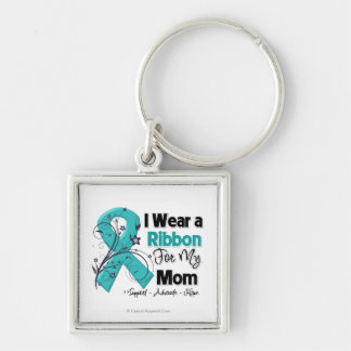 Mom - Ovarian Cancer Ribbon Silver-Colored Square Key Ring