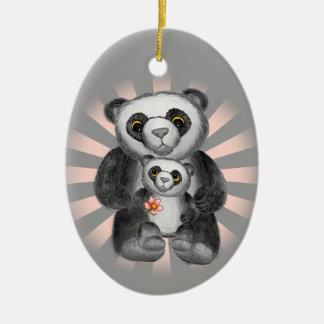 Mom Panda Bear Love Ceramic Oval Decoration