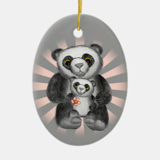 Mom Panda Bear Love Christmas Ornament