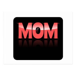 Mom, Pink & Distorted On Black Reflective Bkgrd Postcard
