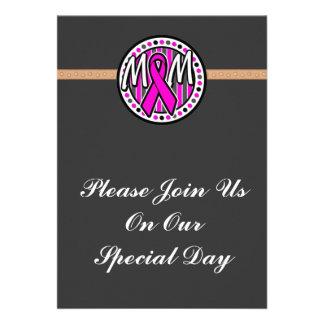 mom pink ribbon and stripes awareness invitations