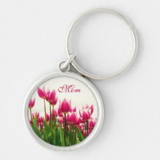 MOM - Pretty Pink Tulip Floral Keychain