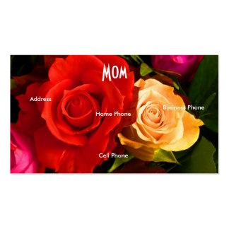 Mom Red Yellow Roses Profile Card Business Card Template