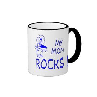 Mom Rocks ! (blue) Ringer Mug
