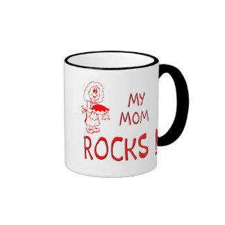 Mom Rocks ! (red) Ringer Mug