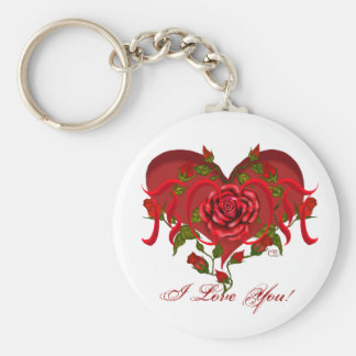 Mom Rose Heart Basic Round Button Key Ring