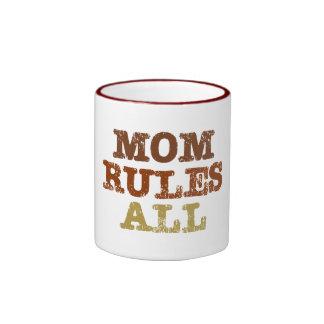 Mom Rules All Ringer Mug