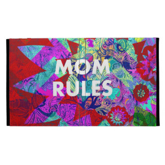 MOM RULES Colorful Floral Mothers Day gifts iPad Folio Cover
