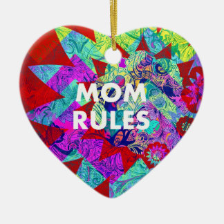 MOM RULES Colorful Floral Mothers Day gifts Ceramic Heart Decoration