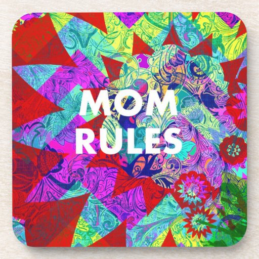 MOM RULES Colorful Floral Mothers Day gifts Drink Coasters