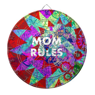 MOM RULES Colorful Floral Mothers Day gifts Dartboard