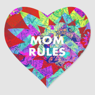 MOM RULES Colorful Floral Mothers Day gifts Heart Sticker