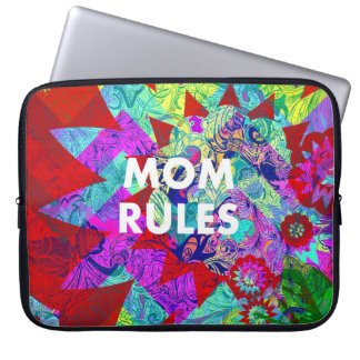 MOM RULES Colorful Floral Mothers Day gifts Laptop Sleeves