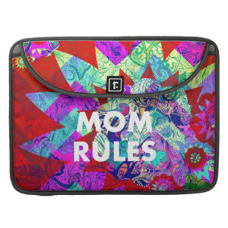 MOM RULES Colorful Floral Mothers Day gifts Sleeve For MacBooks