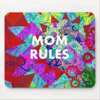 MOM RULES Colorful Floral Mothers Day gifts Mouse Pad